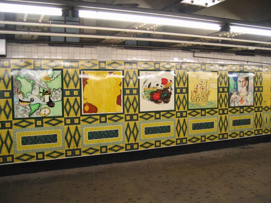(105k, 909x682)<br><b>Country:</b> United States<br><b>City:</b> New York<br><b>System:</b> New York City Transit<br><b>Line:</b> IND 8th Avenue Line<br><b>Location:</b> 59th Street/Columbus Circle <br><b>Photo by:</b> Robbie Rosenfeld<br><b>Date:</b> 7/31/2005<br><b>Artwork:</b> <i>Hello Columbus</i>,  NYC Artists & Public School Students (1992).<br><b>Viewed (this week/total):</b> 3 / 2443