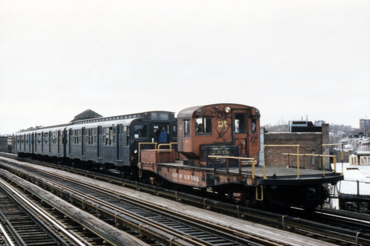 (464k, 1024x683)<br><b>Country:</b> United States<br><b>City:</b> New York<br><b>System:</b> New York City Transit<br><b>Route:</b> Fan Trip<br><b>Car:</b> R-3 Motor Flat Car (Drill Motor) (Magor Car, 1932)  41 <br><b>Photo by:</b> Ed Davis, Sr.<br><b>Collection of:</b> David Pirmann<br><b>Date:</b> 3/20/1977<br><b>Viewed (this week/total):</b> 0 / 4120
