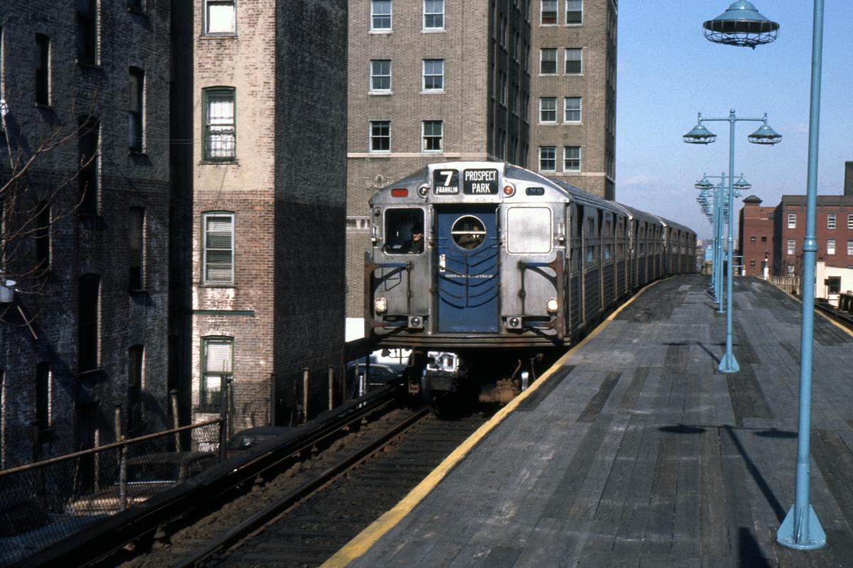 (409k, 1044x709)<br><b>Country:</b> United States<br><b>City:</b> New York<br><b>System:</b> New York City Transit<br><b>Line:</b> BMT Franklin<br><b>Location:</b> Park Place <br><b>Route:</b> Franklin Shuttle<br><b>Car:</b> R-11 (Budd, 1949)  <br><b>Photo by:</b> Ed Davis, Sr.<br><b>Collection of:</b> David Pirmann<br><b>Viewed (this week/total):</b> 3 / 5796