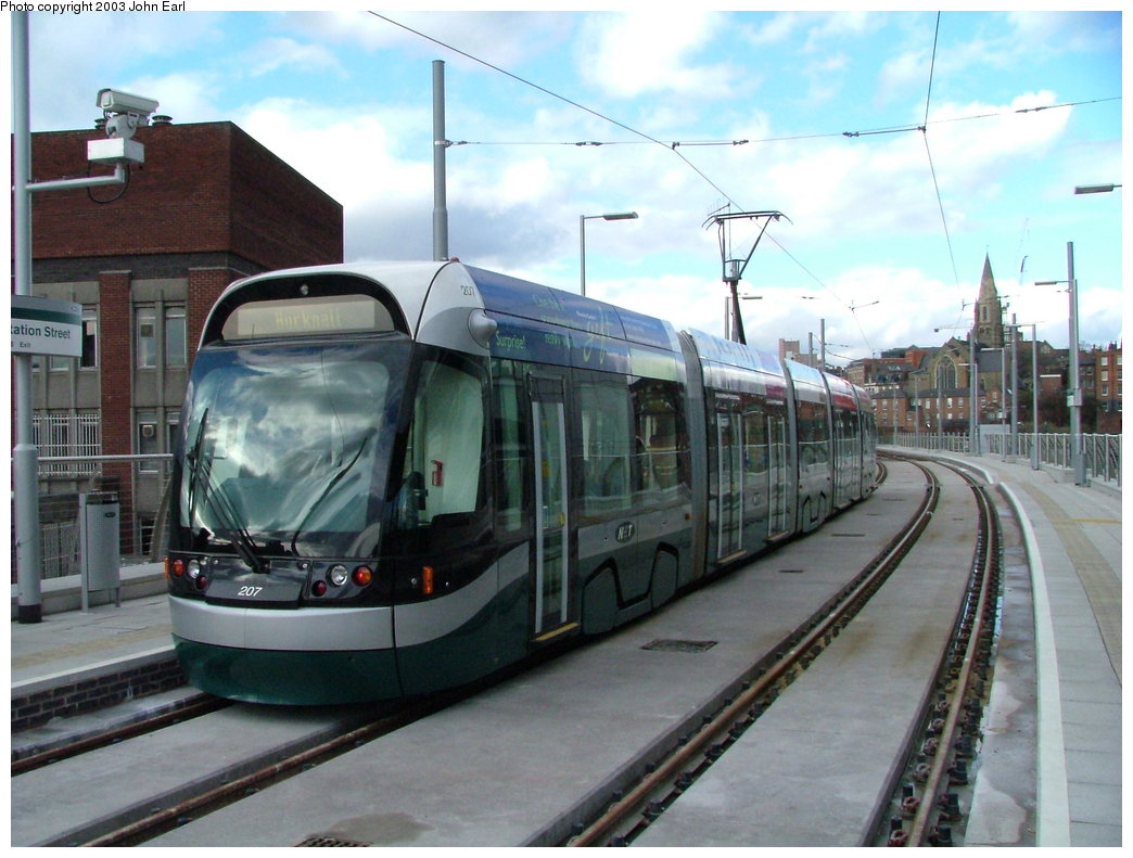 (170k, 1044x791)<br><b>Country:</b> United Kingdom<br><b>City:</b> Nottingham<br><b>System:</b> Nottingham Express Transit<br><b>Location:</b> Station Street <br><b>Car:</b> Bombardier Incentro 207 <br><b>Photo by:</b> John Earl<br><b>Date:</b> 3/19/2003<br><b>Viewed (this week/total):</b> 2 / 956