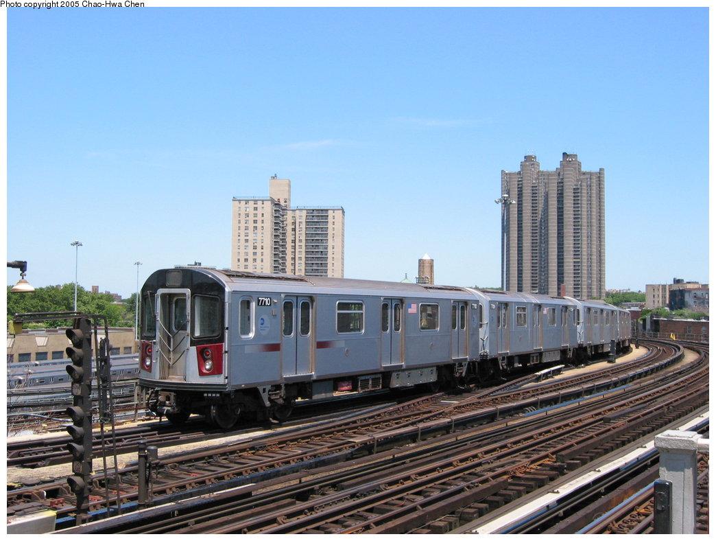 (179k, 1044x788)<br><b>Country:</b> United States<br><b>City:</b> New York<br><b>System:</b> New York City Transit<br><b>Line:</b> IRT Woodlawn Line<br><b>Location:</b> Bedford Park Boulevard <br><b>Route:</b> 4<br><b>Car:</b> R-142A (Option Order, Kawasaki, 2002-2003)  7710 <br><b>Photo by:</b> Chao-Hwa Chen<br><b>Date:</b> 7/1/2003<br><b>Viewed (this week/total):</b> 2 / 3521