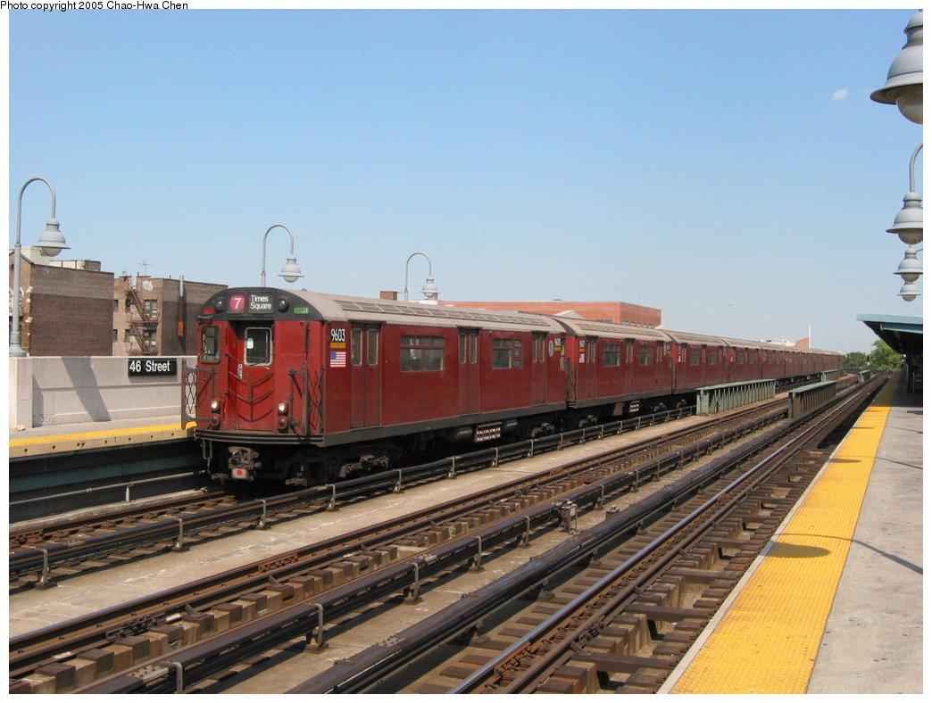 (167k, 1044x788)<br><b>Country:</b> United States<br><b>City:</b> New York<br><b>System:</b> New York City Transit<br><b>Line:</b> IRT Flushing Line<br><b>Location:</b> 46th Street/Bliss Street <br><b>Route:</b> 7<br><b>Car:</b> R-36 World's Fair (St. Louis, 1963-64) 9603 <br><b>Photo by:</b> Chao-Hwa Chen<br><b>Date:</b> 7/1/2003<br><b>Viewed (this week/total):</b> 0 / 2248