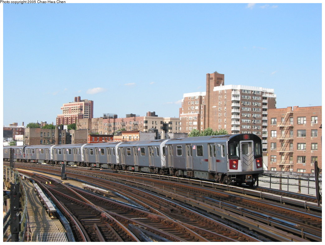 (184k, 1044x788)<br><b>Country:</b> United States<br><b>City:</b> New York<br><b>System:</b> New York City Transit<br><b>Line:</b> IRT Woodlawn Line<br><b>Location:</b> Bedford Park Boulevard <br><b>Route:</b> 4<br><b>Car:</b> R-142A (Option Order, Kawasaki, 2002-2003)  7720 <br><b>Photo by:</b> Chao-Hwa Chen<br><b>Date:</b> 7/1/2003<br><b>Viewed (this week/total):</b> 0 / 2658