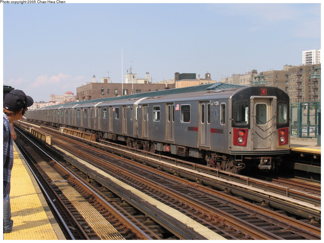 (193k, 1044x782)<br><b>Country:</b> United States<br><b>City:</b> New York<br><b>System:</b> New York City Transit<br><b>Line:</b> IRT Woodlawn Line<br><b>Location:</b> 161st Street/River Avenue (Yankee Stadium) <br><b>Route:</b> 4<br><b>Car:</b> R-142 (Option Order, Bombardier, 2002-2003)  1126 <br><b>Photo by:</b> Chao-Hwa Chen<br><b>Date:</b> 7/30/2005<br><b>Viewed (this week/total):</b> 1 / 3976