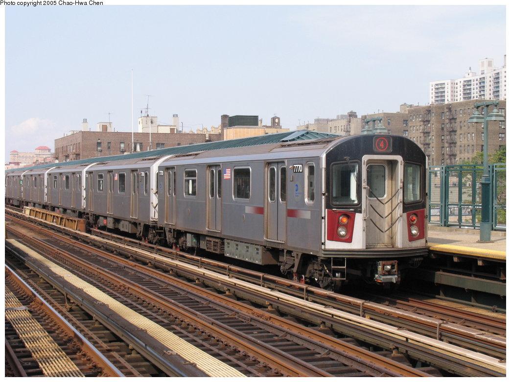 (192k, 1044x780)<br><b>Country:</b> United States<br><b>City:</b> New York<br><b>System:</b> New York City Transit<br><b>Line:</b> IRT Woodlawn Line<br><b>Location:</b> 161st Street/River Avenue (Yankee Stadium) <br><b>Route:</b> 4<br><b>Car:</b> R-142A (Supplemental Order, Kawasaki, 2003-2004)  7770 <br><b>Photo by:</b> Chao-Hwa Chen<br><b>Date:</b> 7/30/2005<br><b>Viewed (this week/total):</b> 2 / 3166
