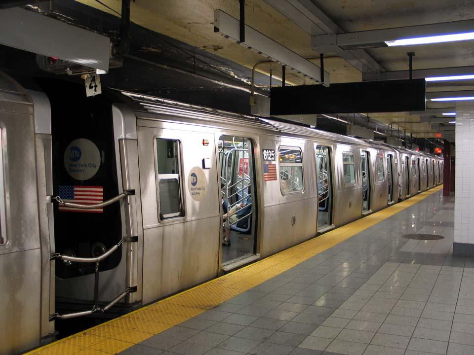 (105k, 960x720)<br><b>Country:</b> United States<br><b>City:</b> New York<br><b>System:</b> New York City Transit<br><b>Line:</b> BMT Canarsie Line<br><b>Location:</b> 8th Avenue <br><b>Route:</b> L<br><b>Car:</b> R-143 (Kawasaki, 2001-2002) 8125 <br><b>Photo by:</b> Michael Pompili<br><b>Date:</b> 4/18/2004<br><b>Viewed (this week/total):</b> 2 / 3644