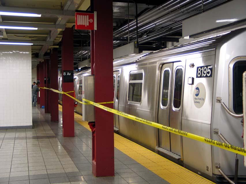 (97k, 853x640)<br><b>Country:</b> United States<br><b>City:</b> New York<br><b>System:</b> New York City Transit<br><b>Line:</b> BMT Canarsie Line<br><b>Location:</b> 8th Avenue <br><b>Route:</b> L<br><b>Car:</b> R-143 (Kawasaki, 2001-2002) 8195 <br><b>Photo by:</b> Michael Pompili<br><b>Date:</b> 4/18/2004<br><b>Viewed (this week/total):</b> 2 / 4352