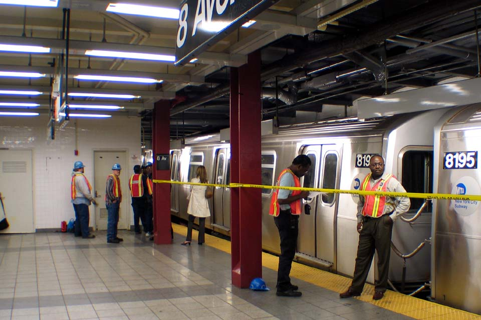 (106k, 960x640)<br><b>Country:</b> United States<br><b>City:</b> New York<br><b>System:</b> New York City Transit<br><b>Line:</b> BMT Canarsie Line<br><b>Location:</b> 8th Avenue <br><b>Route:</b> L<br><b>Car:</b> R-143 (Kawasaki, 2001-2002) 8196 <br><b>Photo by:</b> Michael Pompili<br><b>Date:</b> 4/18/2004<br><b>Viewed (this week/total):</b> 0 / 5208