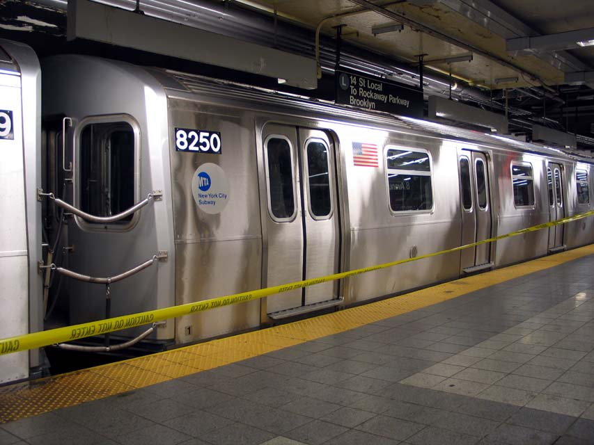 (92k, 853x640)<br><b>Country:</b> United States<br><b>City:</b> New York<br><b>System:</b> New York City Transit<br><b>Line:</b> BMT Canarsie Line<br><b>Location:</b> 8th Avenue <br><b>Route:</b> L<br><b>Car:</b> R-143 (Kawasaki, 2001-2002) 8250 <br><b>Photo by:</b> Michael Pompili<br><b>Date:</b> 4/18/2004<br><b>Viewed (this week/total):</b> 1 / 4520