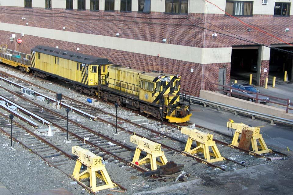 (172k, 960x640)<br><b>Country:</b> United States<br><b>City:</b> New York<br><b>System:</b> New York City Transit<br><b>Location:</b> Corona Yard<br><b>Car:</b> R-120 Locomotive  903 <br><b>Photo by:</b> Michael Pompili<br><b>Date:</b> 4/29/2004<br><b>Viewed (this week/total):</b> 2 / 3287