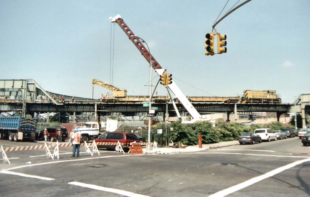 (85k, 1005x640)<br><b>Country:</b> United States<br><b>City:</b> New York<br><b>System:</b> New York City Transit<br><b>Line:</b> BMT Canarsie Line<br><b>Location:</b> Snediker Avenue <br><b>Car:</b> R-120 Locomotive  909 <br><b>Photo by:</b> Michael Pompili<br><b>Date:</b> 2003<br><b>Viewed (this week/total):</b> 0 / 4078