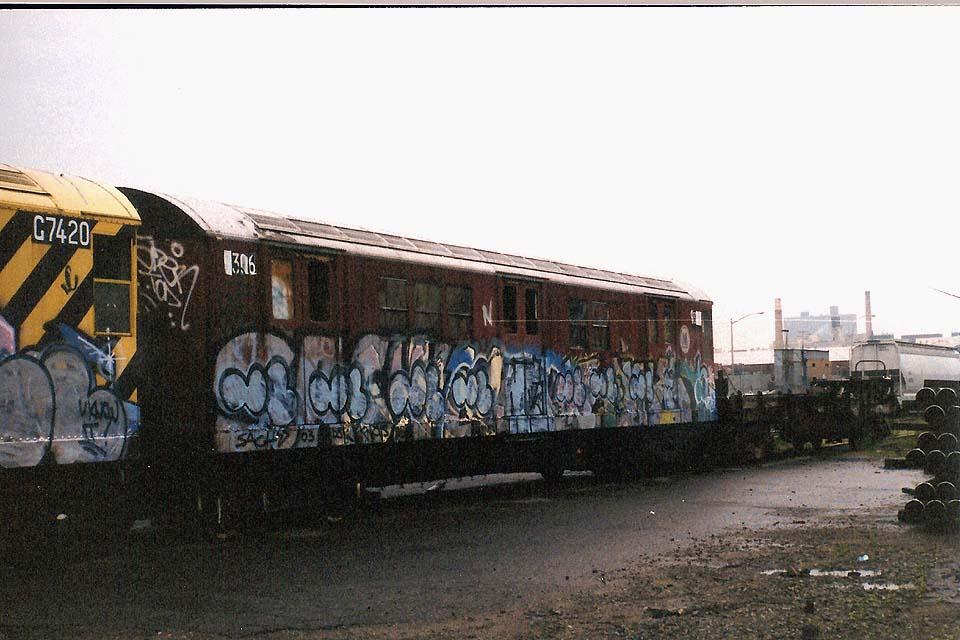 (104k, 960x640)<br><b>Country:</b> United States<br><b>City:</b> New York<br><b>System:</b> New York City Transit<br><b>Line:</b> South Brooklyn Railway<br><b>Location:</b> SBK Yard (2nd Ave at 38th St.) (SBK)<br><b>Car:</b> R-21 (St. Louis, 1956-57) 9306 (ex-7261)<br><b>Photo by:</b> Michael Pompili<br><b>Date:</b> 6/2003<br><b>Viewed (this week/total):</b> 0 / 3935