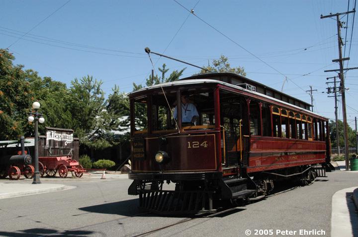 (159k, 720x478)<br><b>Country:</b> United States<br><b>City:</b> San Jose, CA<br><b>System:</b> Kelley Park Vintage Trolley <br><b>Car:</b>  124 <br><b>Photo by:</b> Peter Ehrlich<br><b>Date:</b> 7/30/2005<br><b>Notes:</b> View at the Phelan end of the line.<br><b>Viewed (this week/total):</b> 3 / 1481