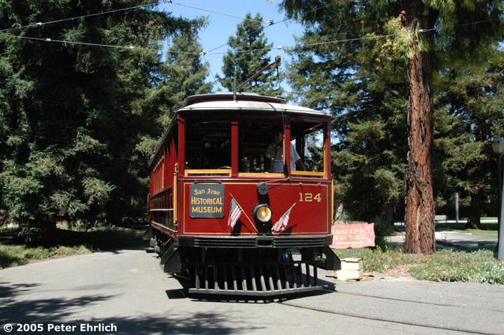 (218k, 720x478)<br><b>Country:</b> United States<br><b>City:</b> San Jose, CA<br><b>System:</b> Kelley Park Vintage Trolley <br><b>Car:</b>  124 <br><b>Photo by:</b> Peter Ehrlich<br><b>Date:</b> 7/30/2005<br><b>Notes:</b> View at the Park Entrance.<br><b>Viewed (this week/total):</b> 5 / 1658