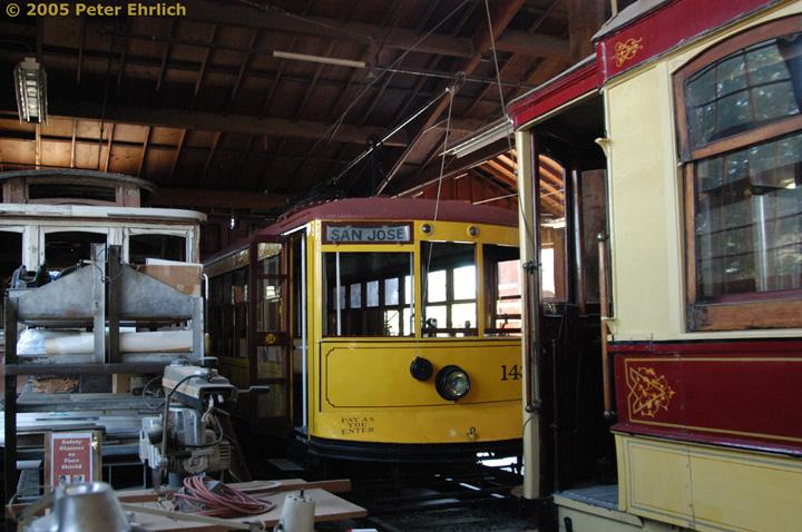 (169k, 720x478)<br><b>Country:</b> United States<br><b>City:</b> San Jose, CA<br><b>System:</b> Kelley Park Vintage Trolley <br><b>Car:</b>  143 <br><b>Photo by:</b> Peter Ehrlich<br><b>Date:</b> 7/30/2005<br><b>Notes:</b> Birney 143 in the carbarn.<br><b>Viewed (this week/total):</b> 4 / 1690