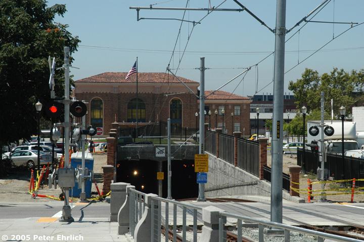 (168k, 720x478)<br><b>Country:</b> United States<br><b>City:</b> San Jose, CA<br><b>System:</b> Santa Clara VTA<br><b>Line:</b> VTA Vasona Line<br><b>Location:</b> Diridon Tunnel <br><b>Car:</b> VTA Kinki-Sharyo 942 <br><b>Photo by:</b> Peter Ehrlich<br><b>Date:</b> 7/30/2005<br><b>Notes:</b> Exiting the inbound portal of the tunnel under the Caltrain tracks/station complex and approaching San Fernando Station inbound.<br><b>Viewed (this week/total):</b> 0 / 1802