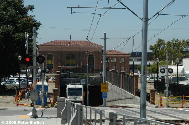 (162k, 720x478)<br><b>Country:</b> United States<br><b>City:</b> San Jose, CA<br><b>System:</b> Santa Clara VTA<br><b>Line:</b> VTA Vasona Line<br><b>Location:</b> Diridon Tunnel <br><b>Car:</b> VTA Kinki-Sharyo 942 <br><b>Photo by:</b> Peter Ehrlich<br><b>Date:</b> 7/30/2005<br><b>Notes:</b> Exiting the inbound portal of the tunnel under the Caltrain tracks/station complex and approaching San Fernando Station inbound.<br><b>Viewed (this week/total):</b> 1 / 1624