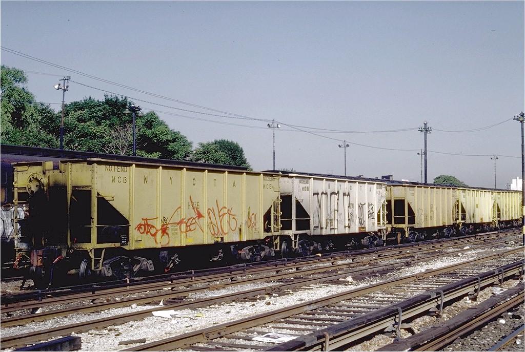 (242k, 1024x687)<br><b>Country:</b> United States<br><b>City:</b> New York<br><b>System:</b> New York City Transit<br><b>Location:</b> 36th Street Yard<br><b>Car:</b> R-23 MoW Hopper (1958, Marshall Rwy. Equip. Co.)  276 <br><b>Photo by:</b> Steve Zabel<br><b>Collection of:</b> Joe Testagrose<br><b>Date:</b> 6/18/1981<br><b>Viewed (this week/total):</b> 2 / 1966