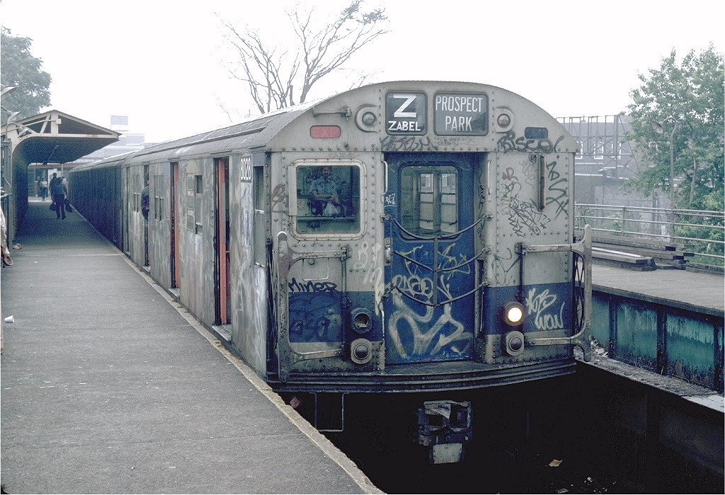 (241k, 1024x700)<br><b>Country:</b> United States<br><b>City:</b> New York<br><b>System:</b> New York City Transit<br><b>Line:</b> BMT Franklin<br><b>Location:</b> Franklin Avenue <br><b>Route:</b> Franklin Shuttle<br><b>Car:</b> R-27 (St. Louis, 1960)  8028 <br><b>Photo by:</b> Steve Zabel<br><b>Collection of:</b> Joe Testagrose<br><b>Date:</b> 6/19/1982<br><b>Viewed (this week/total):</b> 0 / 5237