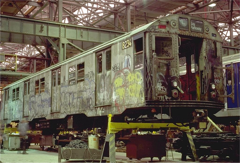 (299k, 1024x697)<br><b>Country:</b> United States<br><b>City:</b> New York<br><b>System:</b> New York City Transit<br><b>Location:</b> 207th Street Shop<br><b>Car:</b> R-27 (St. Louis, 1960)  8234 <br><b>Photo by:</b> Eric Oszustowicz<br><b>Collection of:</b> Joe Testagrose<br><b>Date:</b> 10/10/1987<br><b>Viewed (this week/total):</b> 8 / 4880