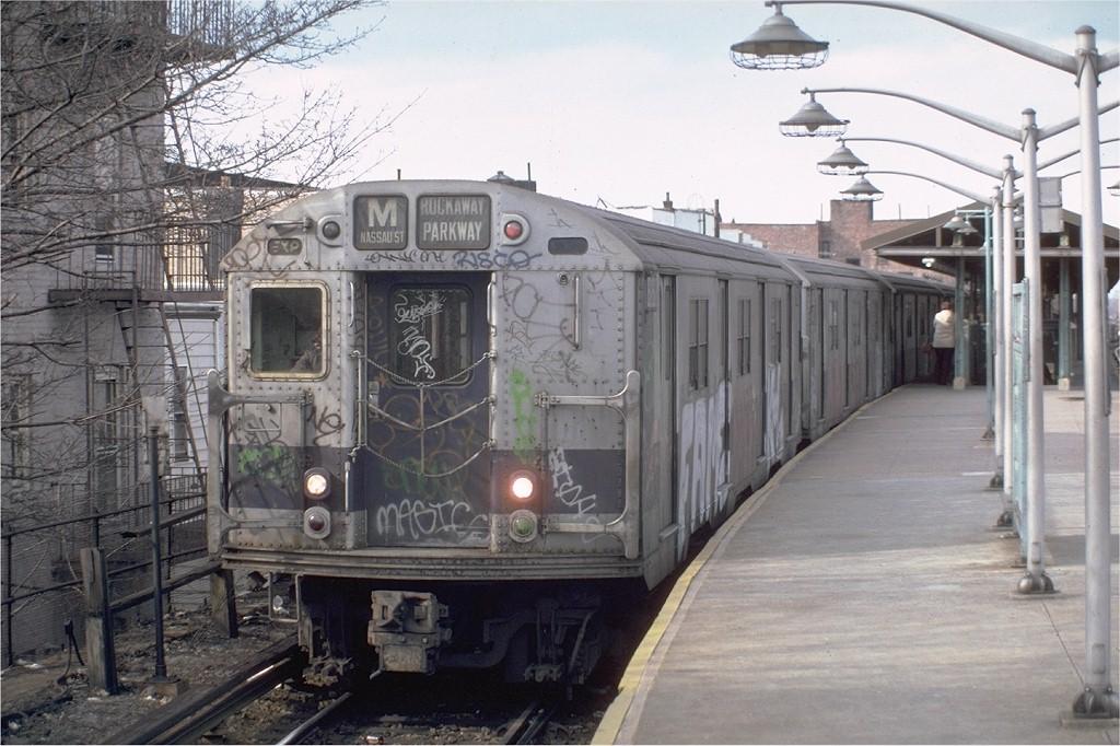 (201k, 1024x682)<br><b>Country:</b> United States<br><b>City:</b> New York<br><b>System:</b> New York City Transit<br><b>Line:</b> BMT Brighton Line<br><b>Location:</b> Kings Highway <br><b>Route:</b> M<br><b>Car:</b> R-30 (St. Louis, 1961) 8282 <br><b>Photo by:</b> Steve Zabel<br><b>Collection of:</b> Joe Testagrose<br><b>Date:</b> 3/26/1982<br><b>Viewed (this week/total):</b> 2 / 3525