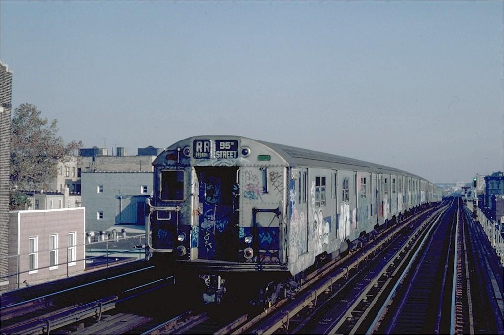 (177k, 1024x682)<br><b>Country:</b> United States<br><b>City:</b> New York<br><b>System:</b> New York City Transit<br><b>Line:</b> BMT Astoria Line<br><b>Location:</b> Broadway <br><b>Route:</b> RR<br><b>Car:</b> R-30 (St. Louis, 1961) 8403 <br><b>Photo by:</b> Steve Zabel<br><b>Collection of:</b> Joe Testagrose<br><b>Date:</b> 10/29/1982<br><b>Viewed (this week/total):</b> 3 / 3444