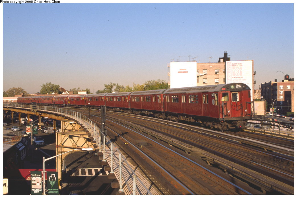 (165k, 1044x695)<br><b>Country:</b> United States<br><b>City:</b> New York<br><b>System:</b> New York City Transit<br><b>Line:</b> IRT Pelham Line<br><b>Location:</b> Buhre Avenue <br><b>Route:</b> 6<br><b>Car:</b> R-36 World's Fair (St. Louis, 1963-64) 9490 <br><b>Photo by:</b> Chao-Hwa Chen<br><b>Date:</b> 10/20/2000<br><b>Viewed (this week/total):</b> 2 / 4184