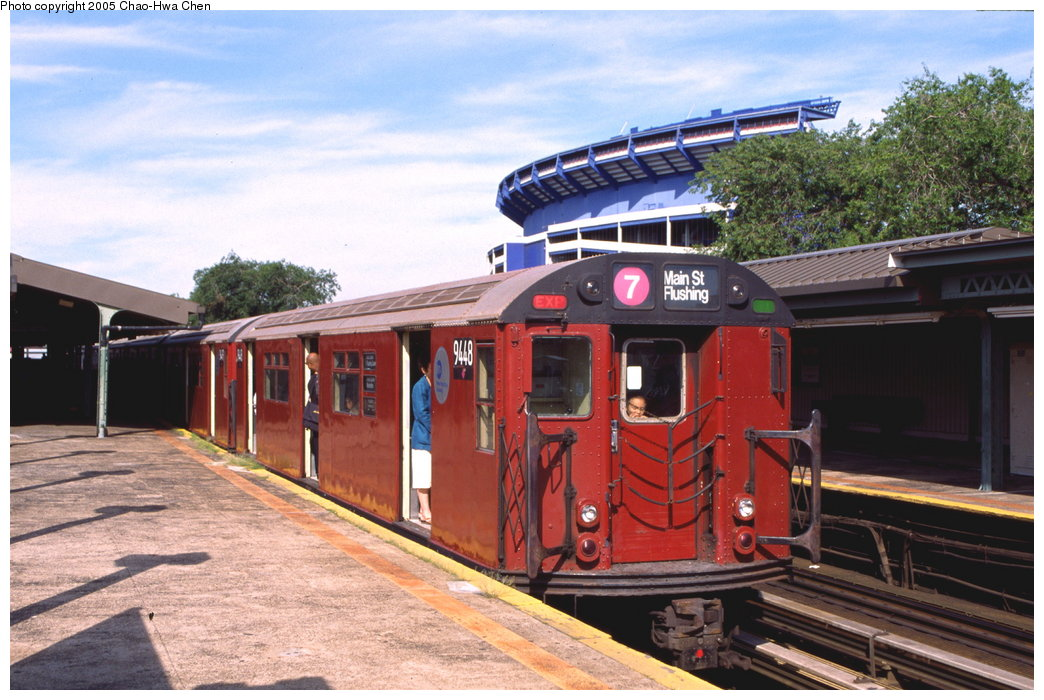 (178k, 1044x700)<br><b>Country:</b> United States<br><b>City:</b> New York<br><b>System:</b> New York City Transit<br><b>Line:</b> IRT Flushing Line<br><b>Location:</b> Willets Point/Mets (fmr. Shea Stadium) <br><b>Route:</b> 7<br><b>Car:</b> R-36 World's Fair (St. Louis, 1963-64) 9448 <br><b>Photo by:</b> Chao-Hwa Chen<br><b>Date:</b> 7/12/1999<br><b>Viewed (this week/total):</b> 1 / 3568