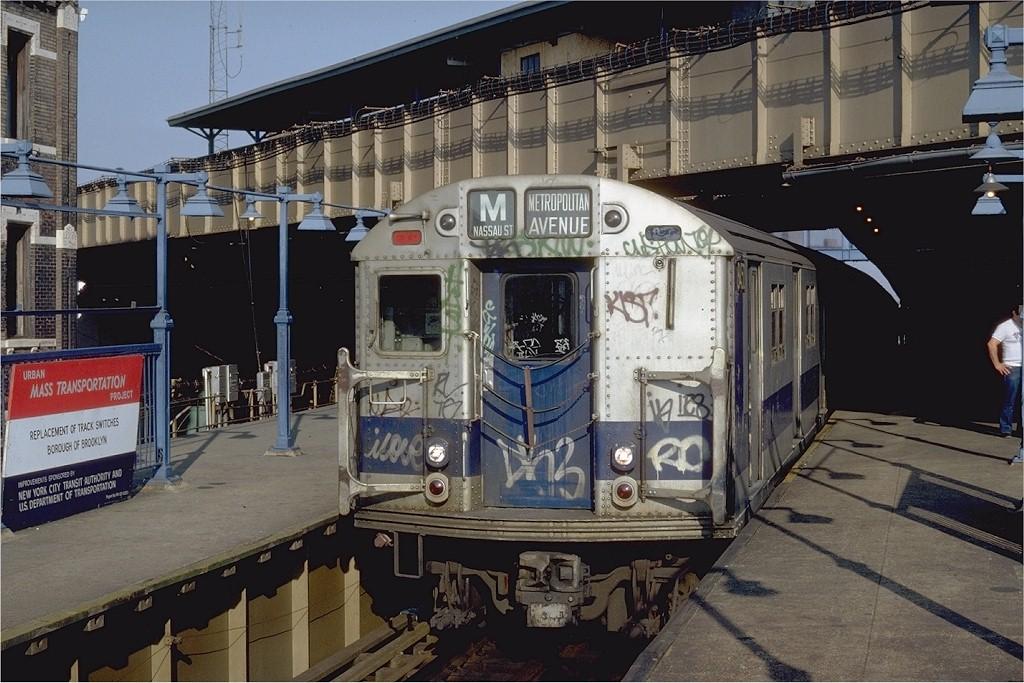 (215k, 1024x683)<br><b>Country:</b> United States<br><b>City:</b> New York<br><b>System:</b> New York City Transit<br><b>Line:</b> BMT Nassau Street/Jamaica Line<br><b>Location:</b> Myrtle Avenue <br><b>Route:</b> M<br><b>Car:</b> R-30 (St. Louis, 1961) 8450 <br><b>Photo by:</b> Steve Zabel<br><b>Collection of:</b> Joe Testagrose<br><b>Date:</b> 9/13/1981<br><b>Viewed (this week/total):</b> 0 / 4033