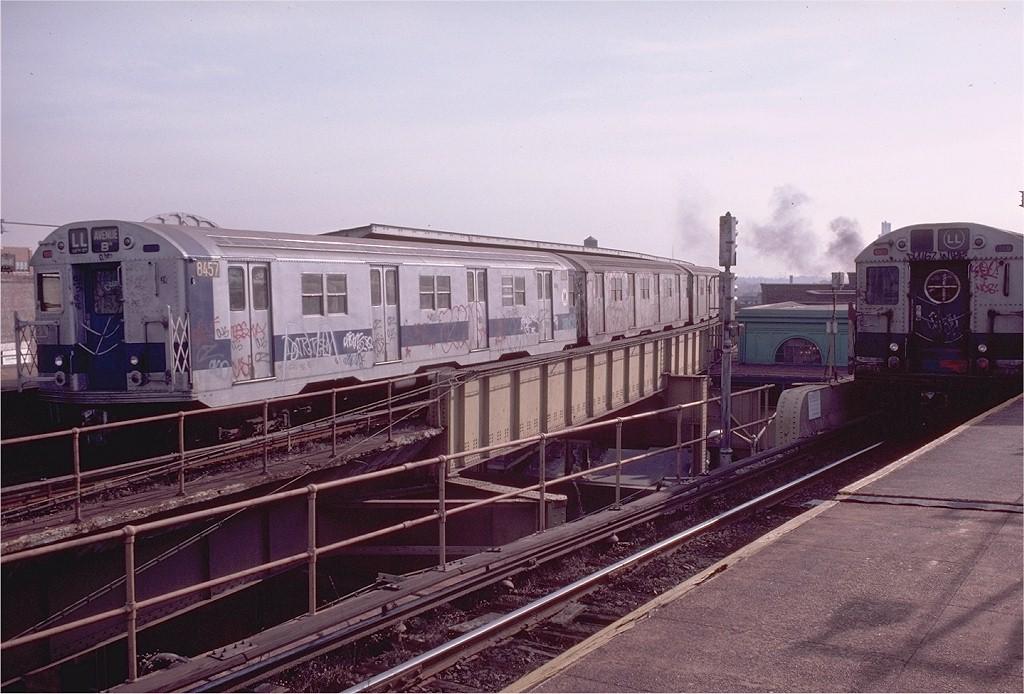 (198k, 1024x694)<br><b>Country:</b> United States<br><b>City:</b> New York<br><b>System:</b> New York City Transit<br><b>Line:</b> BMT Canarsie Line<br><b>Location:</b> Atlantic Avenue <br><b>Route:</b> LL<br><b>Car:</b> R-30 (St. Louis, 1961) 8457 <br><b>Photo by:</b> Doug Grotjahn<br><b>Collection of:</b> Joe Testagrose<br><b>Date:</b> 12/7/1980<br><b>Viewed (this week/total):</b> 7 / 3996