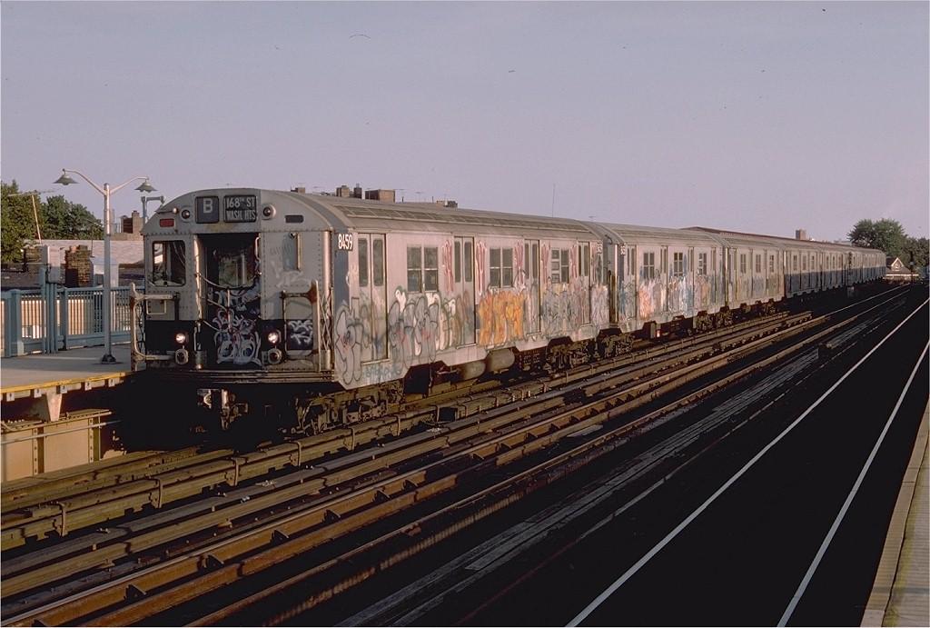 (184k, 1024x691)<br><b>Country:</b> United States<br><b>City:</b> New York<br><b>System:</b> New York City Transit<br><b>Line:</b> BMT West End Line<br><b>Location:</b> 18th Avenue <br><b>Route:</b> B<br><b>Car:</b> R-30 (St. Louis, 1961) 8459 <br><b>Photo by:</b> Doug Grotjahn<br><b>Collection of:</b> Joe Testagrose<br><b>Date:</b> 9/3/1976<br><b>Viewed (this week/total):</b> 1 / 3367