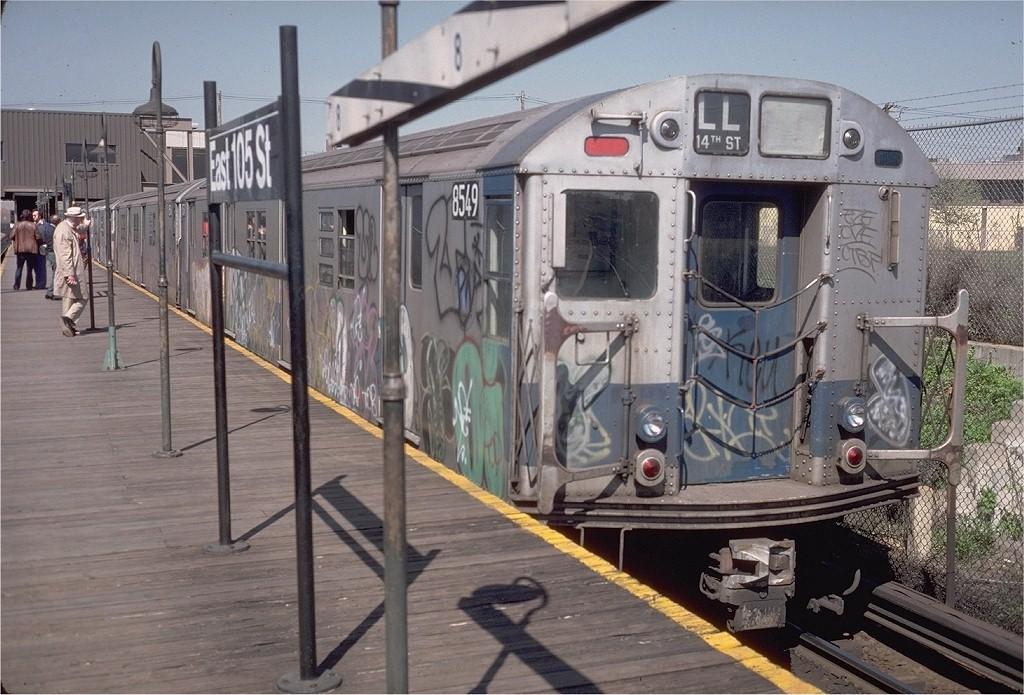 (220k, 1024x695)<br><b>Country:</b> United States<br><b>City:</b> New York<br><b>System:</b> New York City Transit<br><b>Line:</b> BMT Canarsie Line<br><b>Location:</b> East 105th Street <br><b>Route:</b> LL<br><b>Car:</b> R-30 (St. Louis, 1961) 8549 <br><b>Photo by:</b> Steve Zabel<br><b>Collection of:</b> Joe Testagrose<br><b>Date:</b> 4/30/1977<br><b>Viewed (this week/total):</b> 3 / 4297