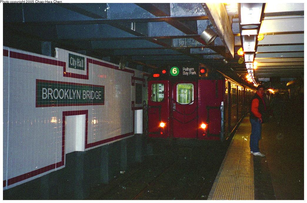 (180k, 1044x691)<br><b>Country:</b> United States<br><b>City:</b> New York<br><b>System:</b> New York City Transit<br><b>Line:</b> IRT East Side Line<br><b>Location:</b> Brooklyn Bridge/City Hall <br><b>Route:</b> 6<br><b>Car:</b> R-29 (St. Louis, 1962) 8675 <br><b>Photo by:</b> Chao-Hwa Chen<br><b>Date:</b> 3/19/1996<br><b>Viewed (this week/total):</b> 0 / 5668