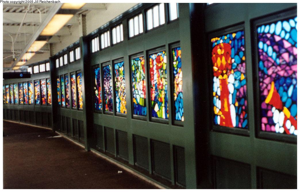 (184k, 1044x669)<br><b>Country:</b> United States<br><b>City:</b> New York<br><b>System:</b> New York City Transit<br><b>Line:</b> BMT Franklin<br><b>Location:</b> Franklin Avenue <br><b>Photo by:</b> Jill Reichenbach<br><b>Date:</b> 3/10/2001<br><b>Artwork:</b> <i>Life and Continued Growth</i>, Eric Pryor (1999).<br><b>Viewed (this week/total):</b> 4 / 2856