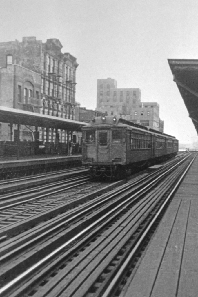 (268k, 715x1045)<br><b>Country:</b> United States<br><b>City:</b> New York<br><b>System:</b> New York City Transit<br><b>Line:</b> 2nd Avenue El<br><b>Location:</b> 23rd Street <br><b>Car:</b> MUDC  <br><b>Photo by:</b> Robert C. Marcus<br><b>Collection of:</b> David Pirmann<br><b>Viewed (this week/total):</b> 6 / 6019