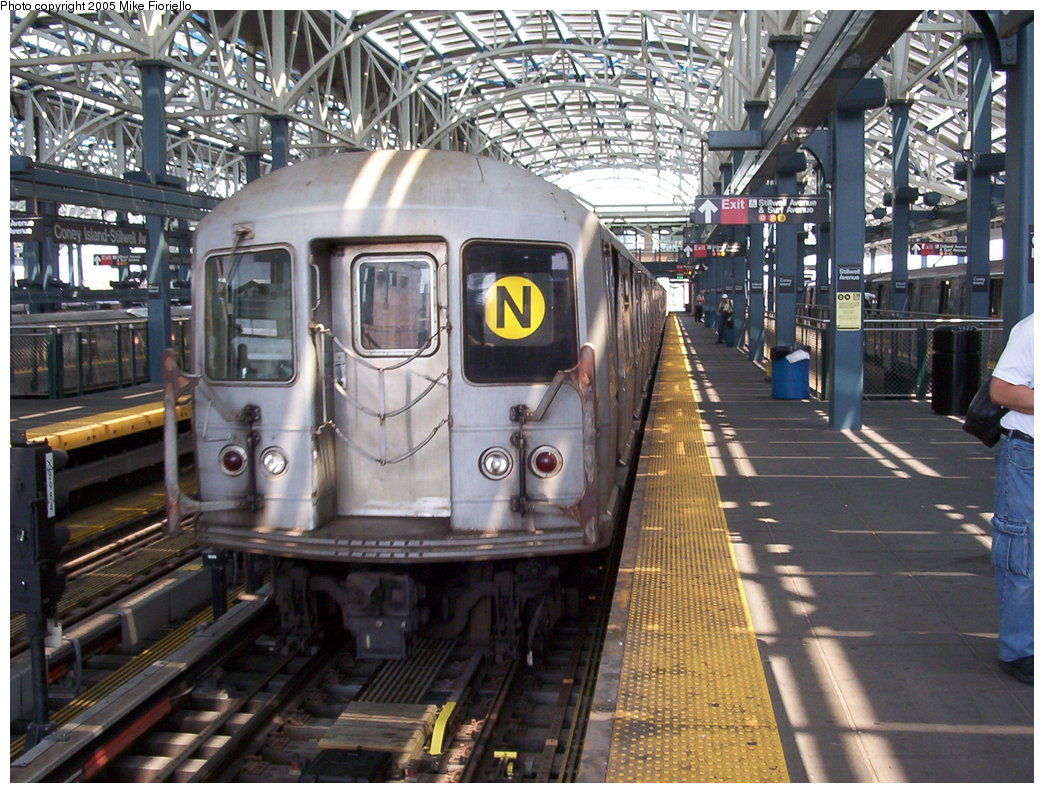 (237k, 1044x793)<br><b>Country:</b> United States<br><b>City:</b> New York<br><b>System:</b> New York City Transit<br><b>Location:</b> Coney Island/Stillwell Avenue<br><b>Route:</b> N<br><b>Car:</b> R-40M (St. Louis, 1969)   <br><b>Photo by:</b> Mike Fioriello<br><b>Date:</b> 6/25/2005<br><b>Viewed (this week/total):</b> 1 / 6986