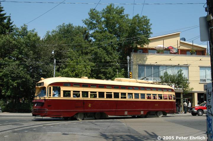 (186k, 720x478)<br><b>Country:</b> Canada<br><b>City:</b> Toronto<br><b>System:</b> TTC<br><b>Line:</b> TTC 512-St. Clair<br><b>Location:</b> St. Clair/Lansdowne/Earlscourt Loop <br><b>Route:</b> Fan Trip<br><b>Car:</b> PCC (TTC Toronto) 4500 <br><b>Photo by:</b> Peter Ehrlich<br><b>Date:</b> 8/7/2005<br><b>Notes:</b> Fan trip turning south on Lansdowne to enter Earlscourt Loop.  <br><b>Viewed (this week/total):</b> 0 / 1914