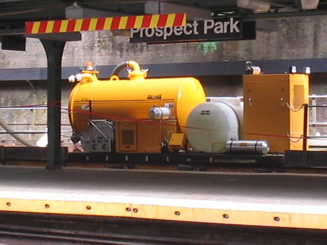 (100k, 640x480)<br><b>Country:</b> United States<br><b>City:</b> New York<br><b>System:</b> New York City Transit<br><b>Line:</b> BMT Franklin<br><b>Location:</b> Prospect Park <br><b>Route:</b> Work Service<br><b>Photo by:</b> Daniel Borde<br><b>Date:</b> 8/20/2005<br><b>Notes:</b> Unusual work train at Prospect Park.<br><b>Viewed (this week/total):</b> 0 / 3085