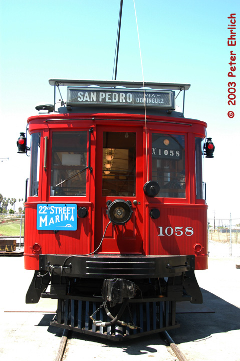 (135k, 479x720)<br><b>Country:</b> United States<br><b>City:</b> Los Angeles, CA<br><b>System:</b> San Pedro Red Car Line<br><b>Location:</b> Carbarn <br><b>Car:</b>  1058 <br><b>Photo by:</b> Peter Ehrlich<br><b>Date:</b> 8/2/2003<br><b>Notes:</b> Head-on view at carbarn.<br><b>Viewed (this week/total):</b> 2 / 1603