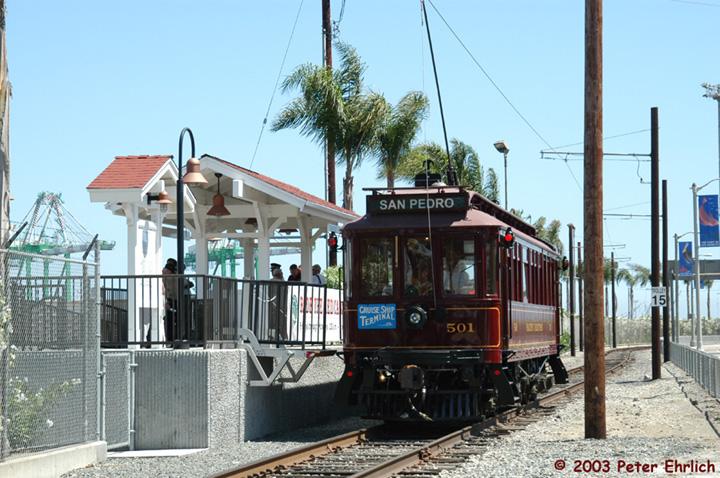 (166k, 720x478)<br><b>Country:</b> United States<br><b>City:</b> Los Angeles, CA<br><b>System:</b> San Pedro Red Car Line<br><b>Location:</b> Swinford/Cruise Center <br><b>Car:</b>  501 <br><b>Photo by:</b> Peter Ehrlich<br><b>Date:</b> 8/2/2003<br><b>Viewed (this week/total):</b> 2 / 1499