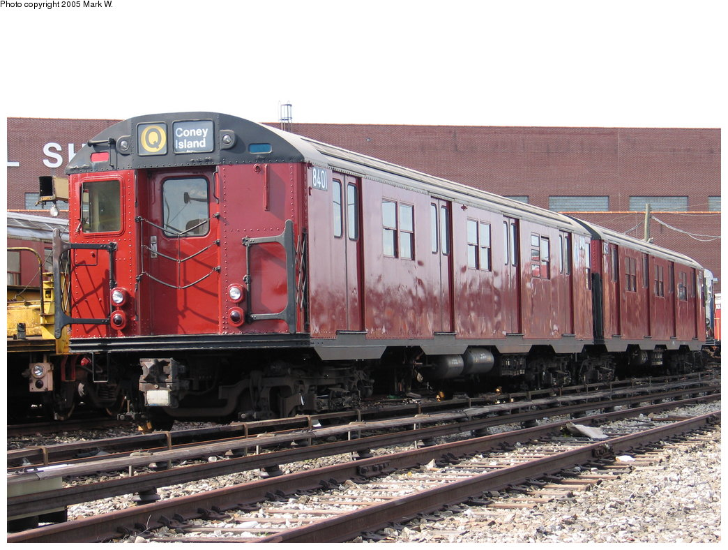 (210k, 1044x788)<br><b>Country:</b> United States<br><b>City:</b> New York<br><b>System:</b> New York City Transit<br><b>Location:</b> Coney Island Yard-Training Facilities<br><b>Car:</b> R-30 (St. Louis, 1961) 8401 <br><b>Photo by:</b> Mark W.<br><b>Date:</b> 7/3/2004<br><b>Viewed (this week/total):</b> 10 / 10497