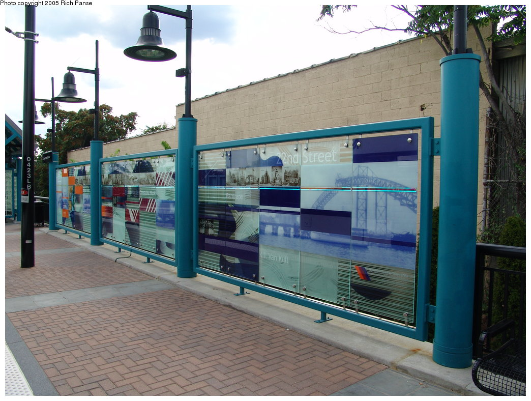 (205k, 1044x788)<br><b>Country:</b> United States<br><b>City:</b> Bayonne, NJ<br><b>System:</b> Hudson Bergen Light Rail<br><b>Location:</b> East 22nd Street <br><b>Photo by:</b> Richard Panse<br><b>Date:</b> 8/26/2005<br><b>Notes:</b> Platform art.<br><b>Viewed (this week/total):</b> 0 / 2152