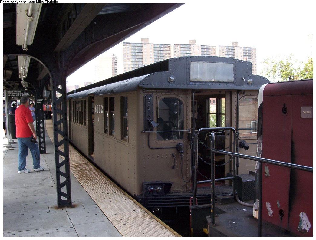 (169k, 1044x793)<br><b>Country:</b> United States<br><b>City:</b> New York<br><b>System:</b> New York City Transit<br><b>Line:</b> BMT Brighton Line<br><b>Location:</b> Ocean Parkway <br><b>Route:</b> Fan Trip<br><b>Car:</b> BMT D-Type Triplex 6112 <br><b>Photo by:</b> Mike Fioriello<br><b>Date:</b> 9/28/2003<br><b>Viewed (this week/total):</b> 0 / 2763