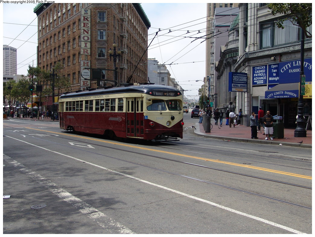 (248k, 1044x788)<br><b>Country:</b> United States<br><b>City:</b> San Francisco/Bay Area, CA<br><b>System:</b> SF MUNI<br><b>Location:</b> Market/Jones <br><b>Car:</b> SF MUNI PCC Torpedo Double-End (St. Louis Car Co., 1948)  1007 <br><b>Photo by:</b> Richard Panse<br><b>Date:</b> 7/29/2005<br><b>Viewed (this week/total):</b> 0 / 836