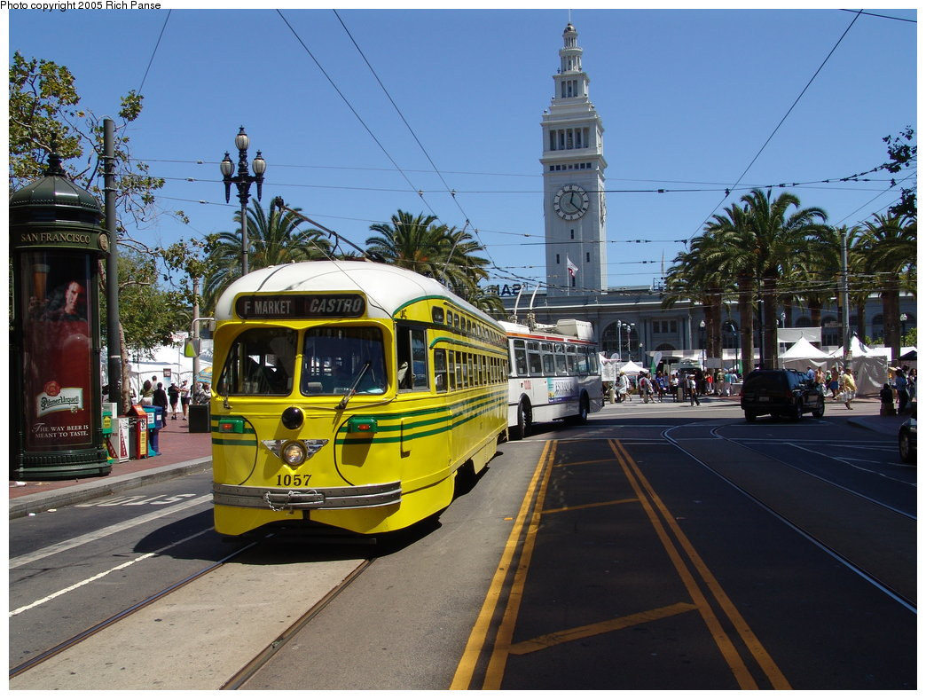 (216k, 1044x788)<br><b>Country:</b> United States<br><b>City:</b> San Francisco/Bay Area, CA<br><b>System:</b> SF MUNI<br><b>Location:</b> Market/Spear <br><b>Car:</b> SF MUNI PCC (Ex-SEPTA) (St. Louis Car Co., 1947-1948)  1057 <br><b>Photo by:</b> Richard Panse<br><b>Date:</b> 7/31/2005<br><b>Viewed (this week/total):</b> 0 / 590