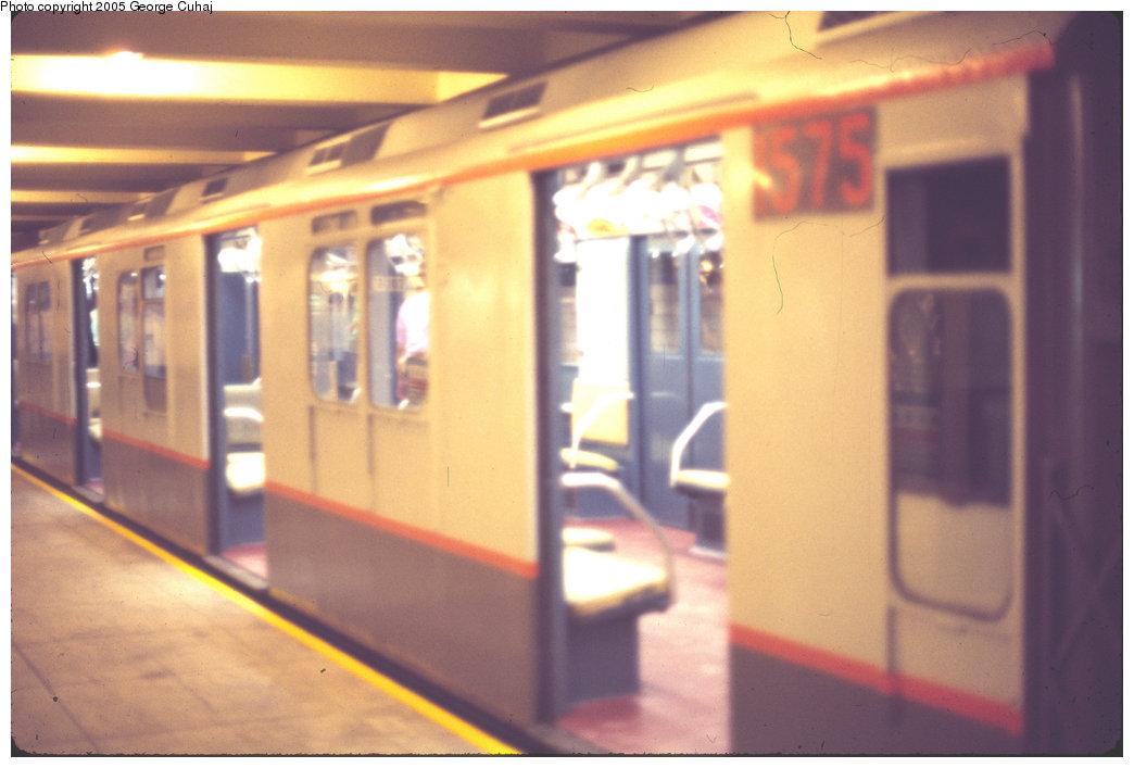 (154k, 1044x707)<br><b>Country:</b> United States<br><b>City:</b> New York<br><b>System:</b> New York City Transit<br><b>Location:</b> New York Transit Museum<br><b>Car:</b> R-7A (Pullman, 1938)  1575 <br><b>Photo by:</b> George Cuhaj<br><b>Date:</b> 7/2/1976<br><b>Viewed (this week/total):</b> 0 / 2609