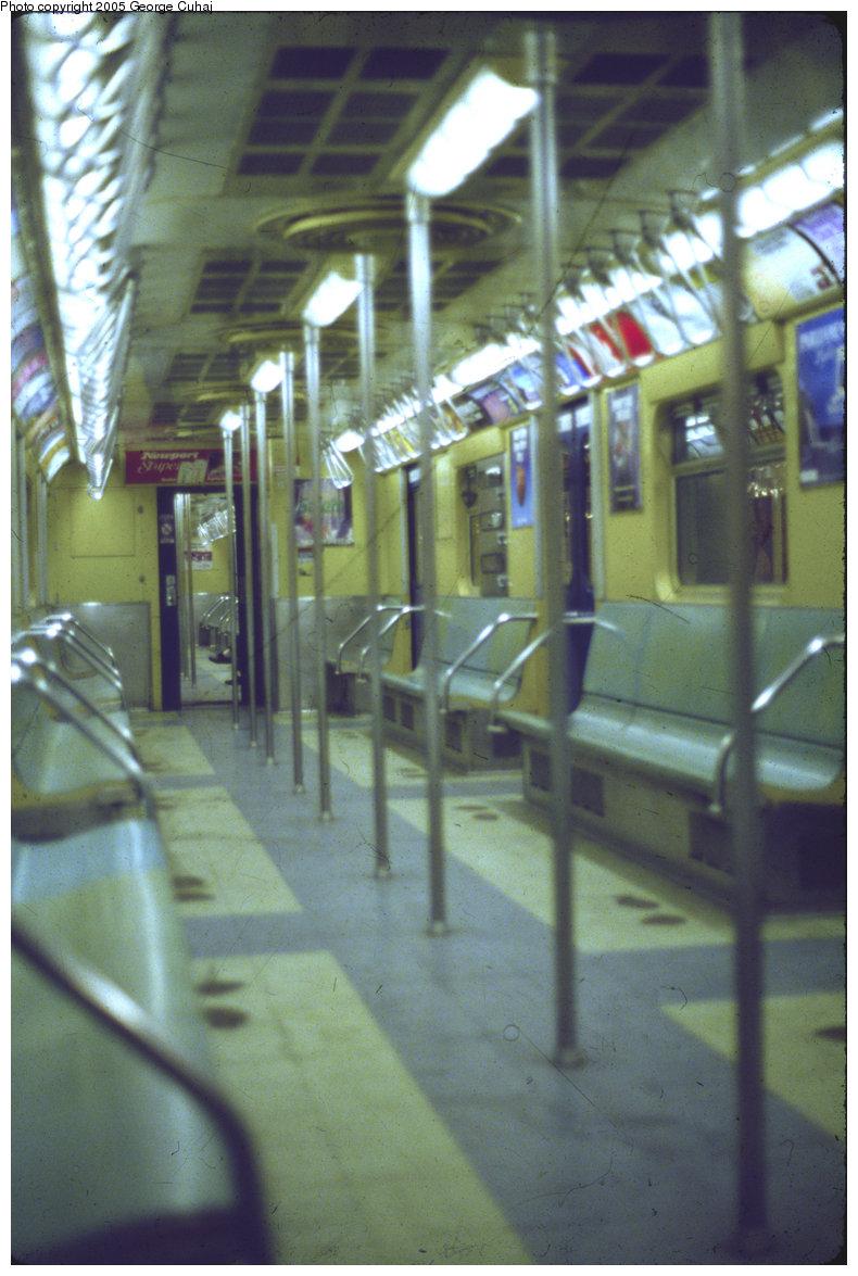 (241k, 790x1175)<br><b>Country:</b> United States<br><b>City:</b> New York<br><b>System:</b> New York City Transit<br><b>Line:</b> IND Queens Boulevard Line<br><b>Location:</b> 46th Street <br><b>Car:</b> R-32 (Budd, 1964)  Interior <br><b>Photo by:</b> George Cuhaj<br><b>Date:</b> 6/1988<br><b>Viewed (this week/total):</b> 5 / 4924