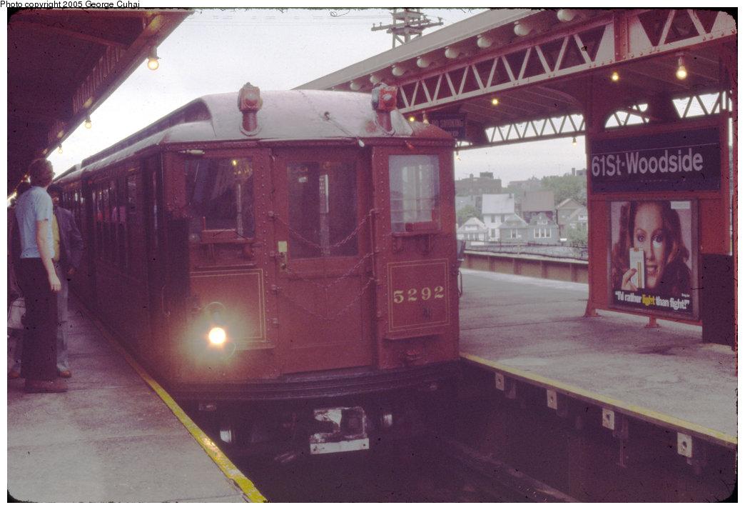 (175k, 1044x714)<br><b>Country:</b> United States<br><b>City:</b> New York<br><b>System:</b> New York City Transit<br><b>Line:</b> IRT Flushing Line<br><b>Location:</b> 61st Street/Woodside <br><b>Route:</b> Fan Trip<br><b>Car:</b> Low-V (Museum Train) 5292 <br><b>Photo by:</b> George Cuhaj<br><b>Date:</b> 10/1979<br><b>Viewed (this week/total):</b> 0 / 2274