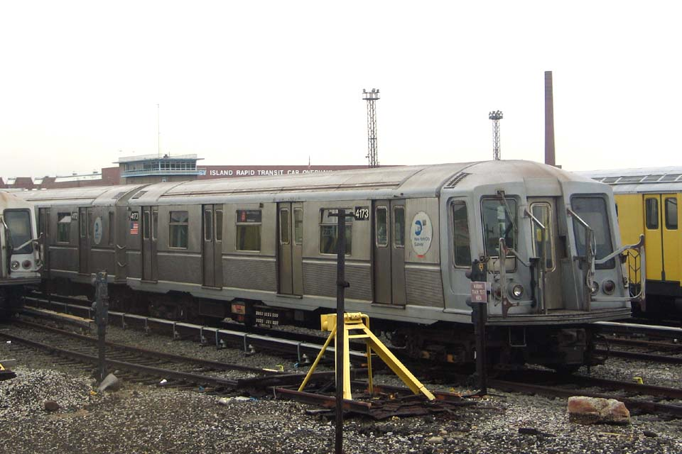 (97k, 960x640)<br><b>Country:</b> United States<br><b>City:</b> New York<br><b>System:</b> New York City Transit<br><b>Location:</b> Coney Island Yard<br><b>Car:</b> R-40 (St. Louis, 1968)  4173 <br><b>Photo by:</b> Michael Pompili<br><b>Date:</b> 4/3/2004<br><b>Viewed (this week/total):</b> 2 / 2664