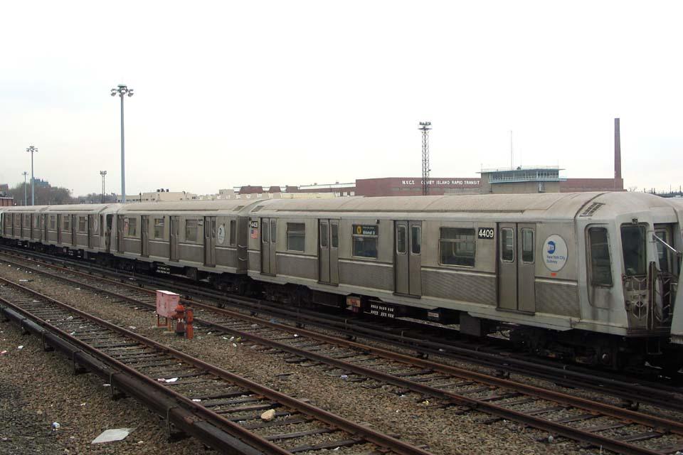 (89k, 960x640)<br><b>Country:</b> United States<br><b>City:</b> New York<br><b>System:</b> New York City Transit<br><b>Location:</b> Coney Island Yard<br><b>Car:</b> R-40 (St. Louis, 1968)  4409 <br><b>Photo by:</b> Michael Pompili<br><b>Date:</b> 4/3/2004<br><b>Viewed (this week/total):</b> 5 / 2356